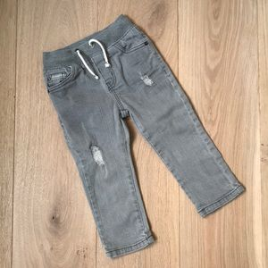 Cat & Jack Grey Pull On Straight Leg Jeans